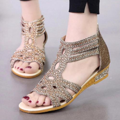 Hollow Out  Low Heeled  Ankle Strap  Peep Toe   Office Sandals