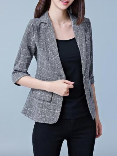 Fashion Casual Plaid 3/4 Sleeve Slim Blazer