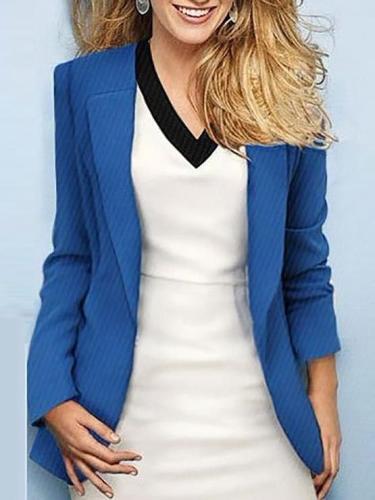 Fashion Pure Color Lapel Long Sleeved Blazer