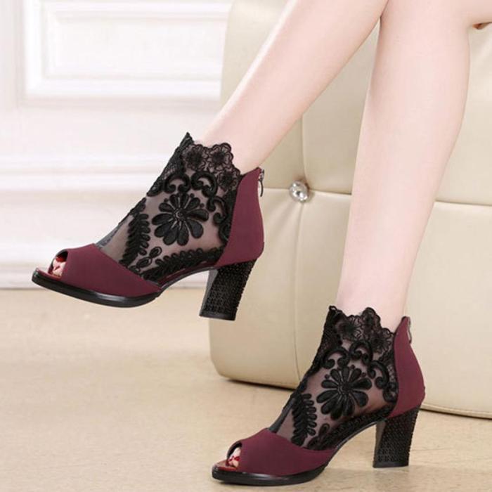 Flower Chunky Heel Casual Boots