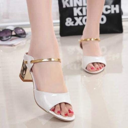 Color Block  Chunky  Mid Heeled  Casual Shoes