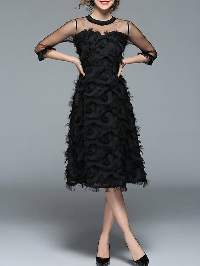Black 3/4 Sleeve See-through Look Crew Neck Midi Dress