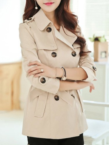 Turn Down Collar  Double Breasted Plain Trench Coats