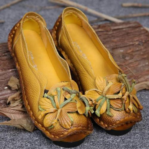 Flower Cowhide Women's Slip-On Loafers