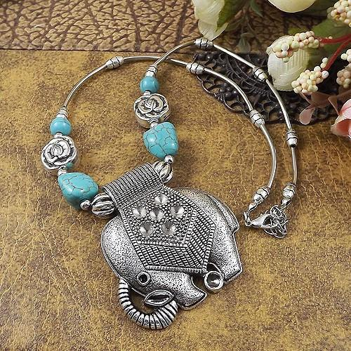 Elephants Retro Choker Necklace Necklaces and  Pendants