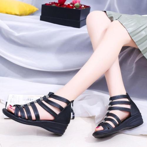 Plain  Low Heeled  Peep Toe  Sandals