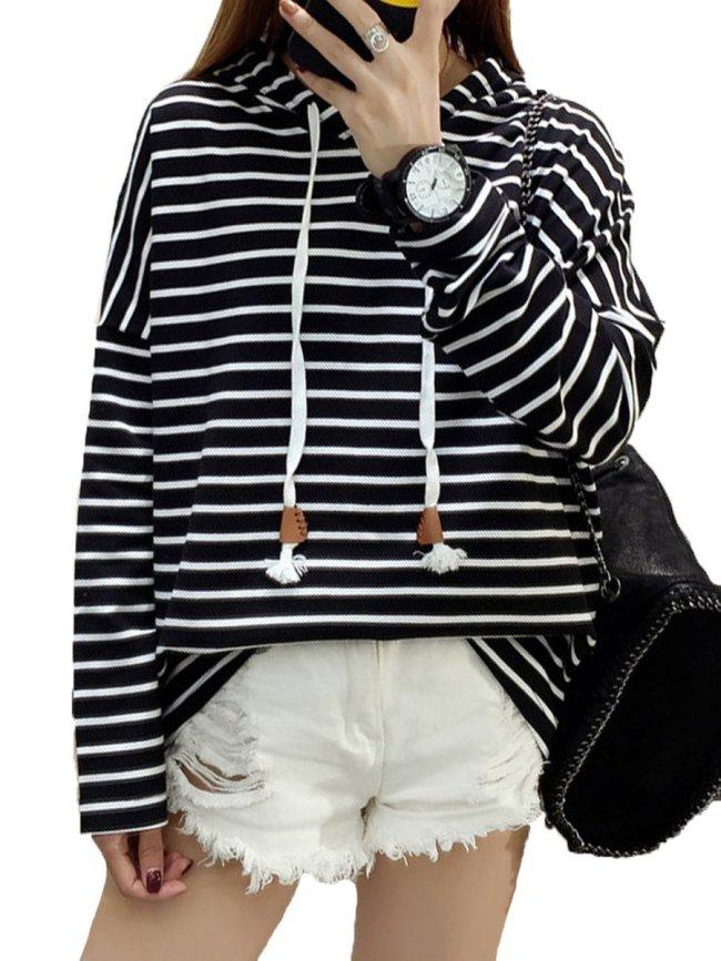 Autumn Spring  Cotton Blend  Striped  Raglan Sleeve  Long Sleeve Hoodies
