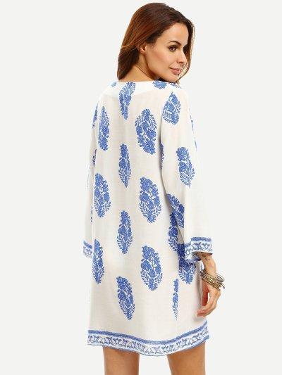 Leaf Print Tassel Tie Neck Dress