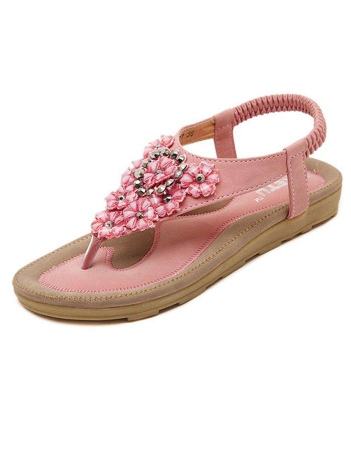 Floral  Flat  Peep Toe  Beach Sandals