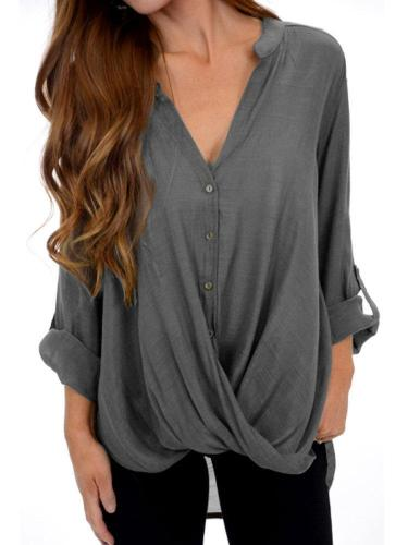3/4 Sleeve Solid Cotton Casual Shirred Blouses