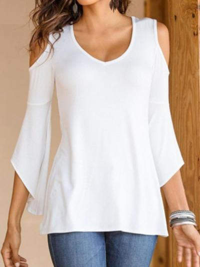Summer Black V-neck Cold Shoulder Flared Sleeves T-shirt