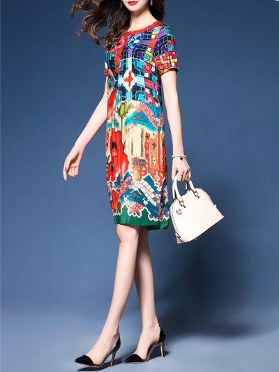 Multicolor Floral Printed A-line Casual Dress