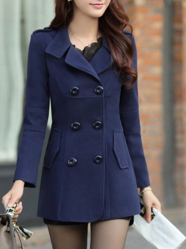 New Lapel Plain Double Breasted Flap Pocket Woolen Coat
