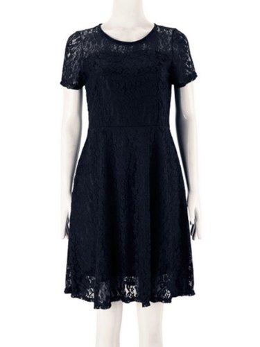 Plus Size Elegant Lace Short Sleeve Gathered Party Dress