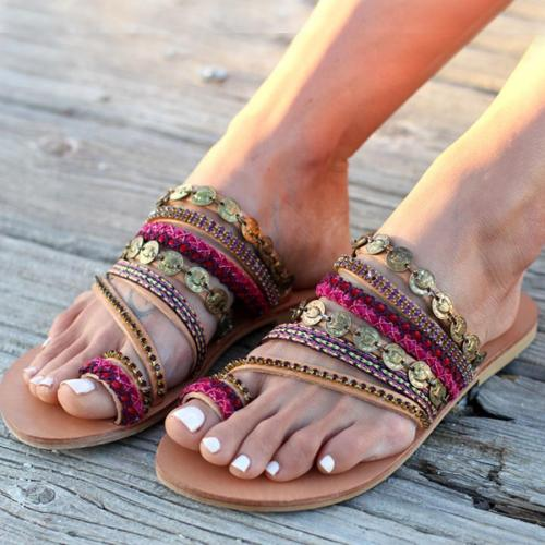 SOCOFY Bohemian  Flat  Peep Toe  Casual Date Slippers