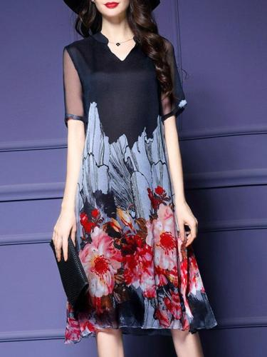 Red Elegant Floral V Neck Midi Dress
