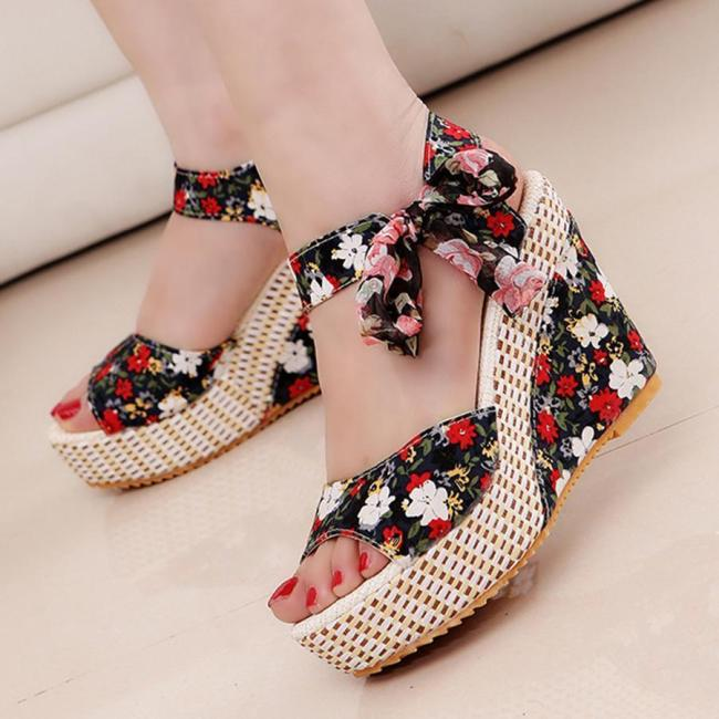 Floral  High Heeled  Ankle Strap  Peep Toe  Casual Date Wedge Sandals