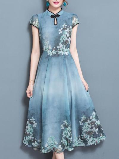 Blue Swing Keyhole Chiffon Short Sleeve Midi Dress