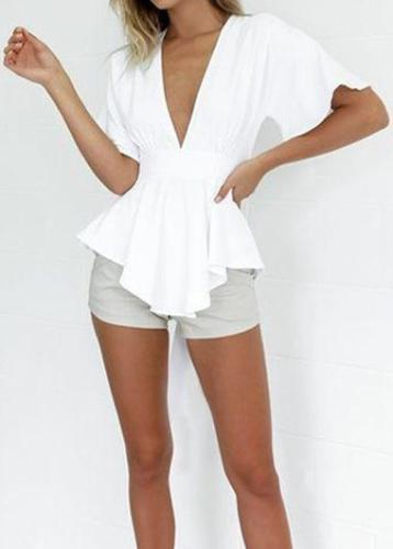 Bowknot Decorated Short Sleeve White Blouse