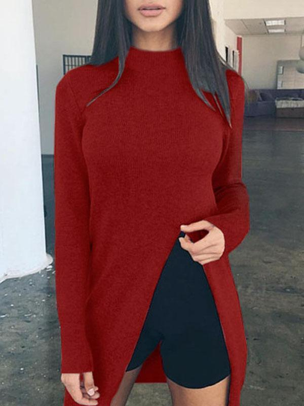 Band Collar  Asymmetric Hem  Plain Sweaters
