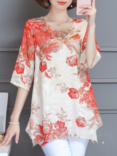 Red Casual Asymmetrical Floral 3/4 Sleeve Blouse
