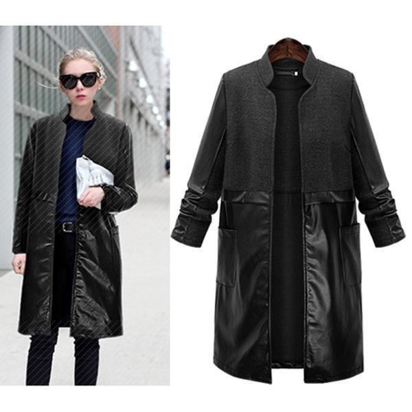 PU Leather Woolen Coat Stitching Outwear