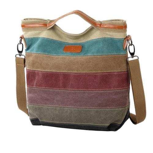 Casual Splicing Canvas Shoulder Bag Contrast Color bag Rainbow Dumpling Handbag