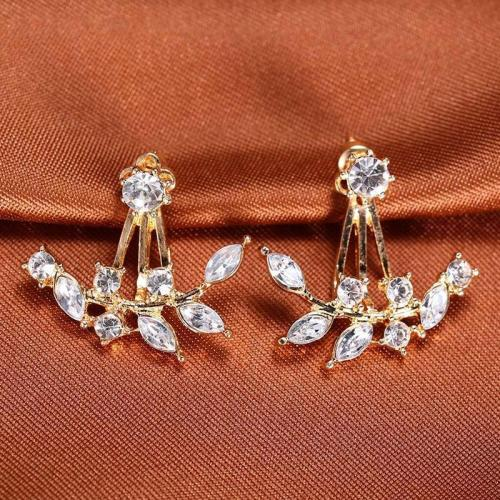 Zircon Elegant Gold Leaf Asymmetric Crystal Earrings