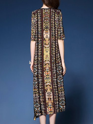 V neck Shift Daytime Half Sleeve Paneled Midi Dress