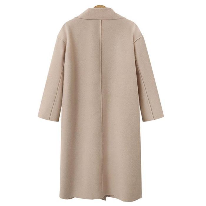 Women's Solid Color Cashmere Long Woolen Coat