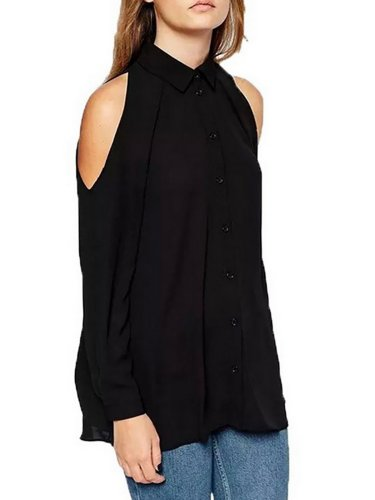 Cold Shoulder Long Sleeve Basic Blouses &