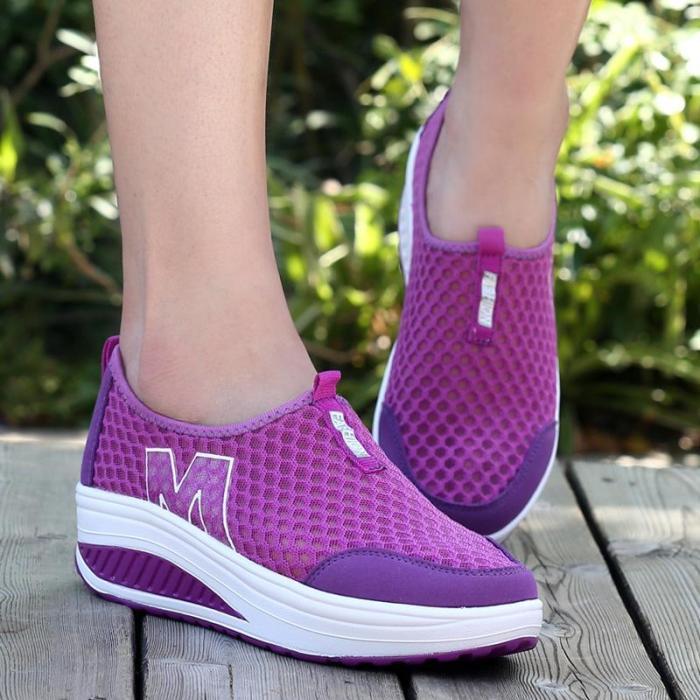 Paneled Mesh Summer Casual Wedge Heel Sneakers