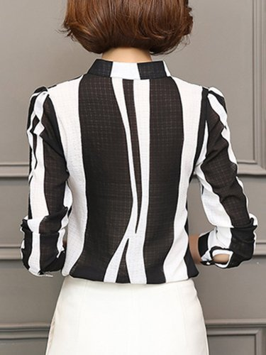 V-Neck Printed Striped Elegant Blouse