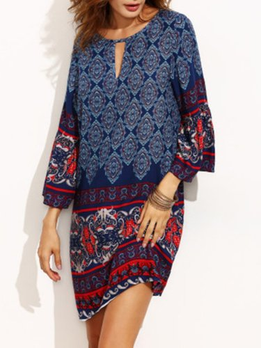 Printed Vintage 3/4 Sleeve H-line Dress