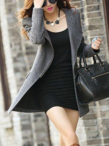 Fold-Over Collar  Flap Pocket Zips  Plain Jacket