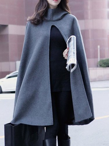 Woman Hooded Plain Vented Woolen Cape Sleeve Coat