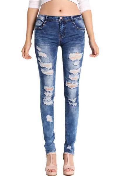 Low Waist Distressed Stretch Ripped Skinny Denim Jeans