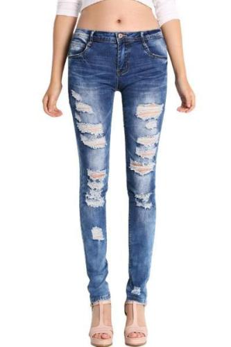 Low Waist Distressed Stretch Ripped Skinny Denim Jeans