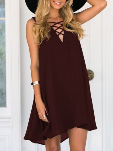 Tie  Plain Shift Dress