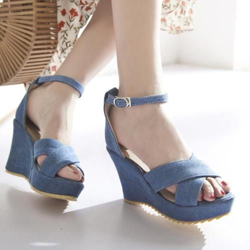 Women Denim Wedge Sandals Casual Comfort Adjustable Buckle Shoes