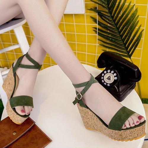Plain  High Heeled  Velvet  Ankle Strap  Peep Toe  Date Sandals