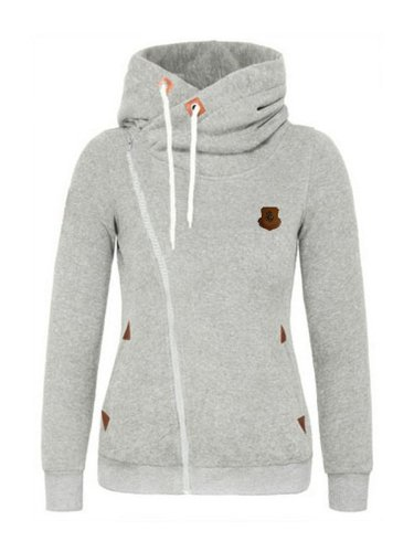 Zips Decorative Patch Plain Hoodie