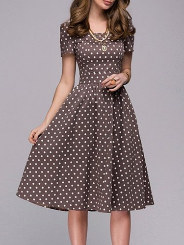Woman Boat Neck  Polka Dot Skater Dress