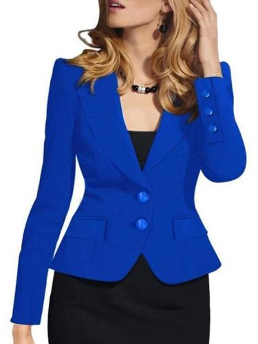Fashion Pure Color Single-Breasted Long Sleeved Blazer