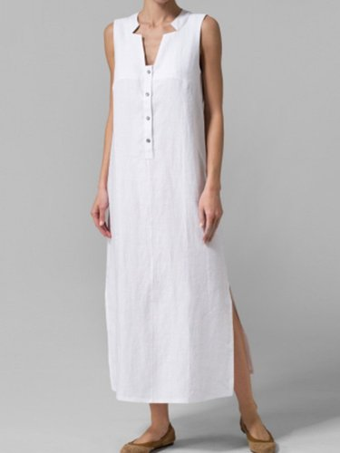 Woman Asymmetric Neck  Decorative Buttons  Plain Maxi Dress