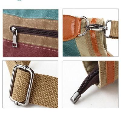 Casual Splicing Canvas Shoulder Bag Contrast Color bag Rainbow Dumpling Handbag