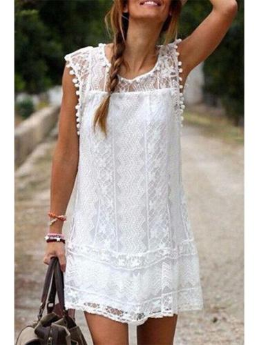New Round Neck  Tassel  Lace Plain Casual Dresses