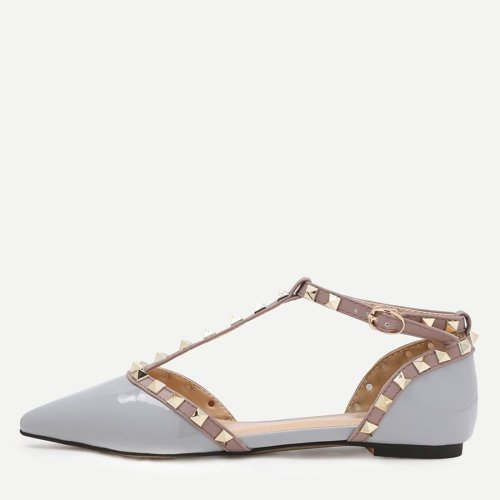 Grey Faux Patent Studded T-Strap Flats