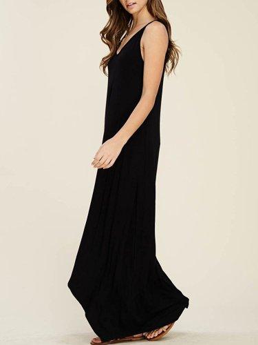 New Round Neck  Plain Maxi Dress