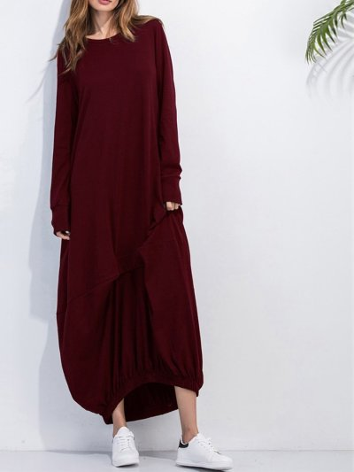 Loose More Colors Large Size Pure Maxi Dress